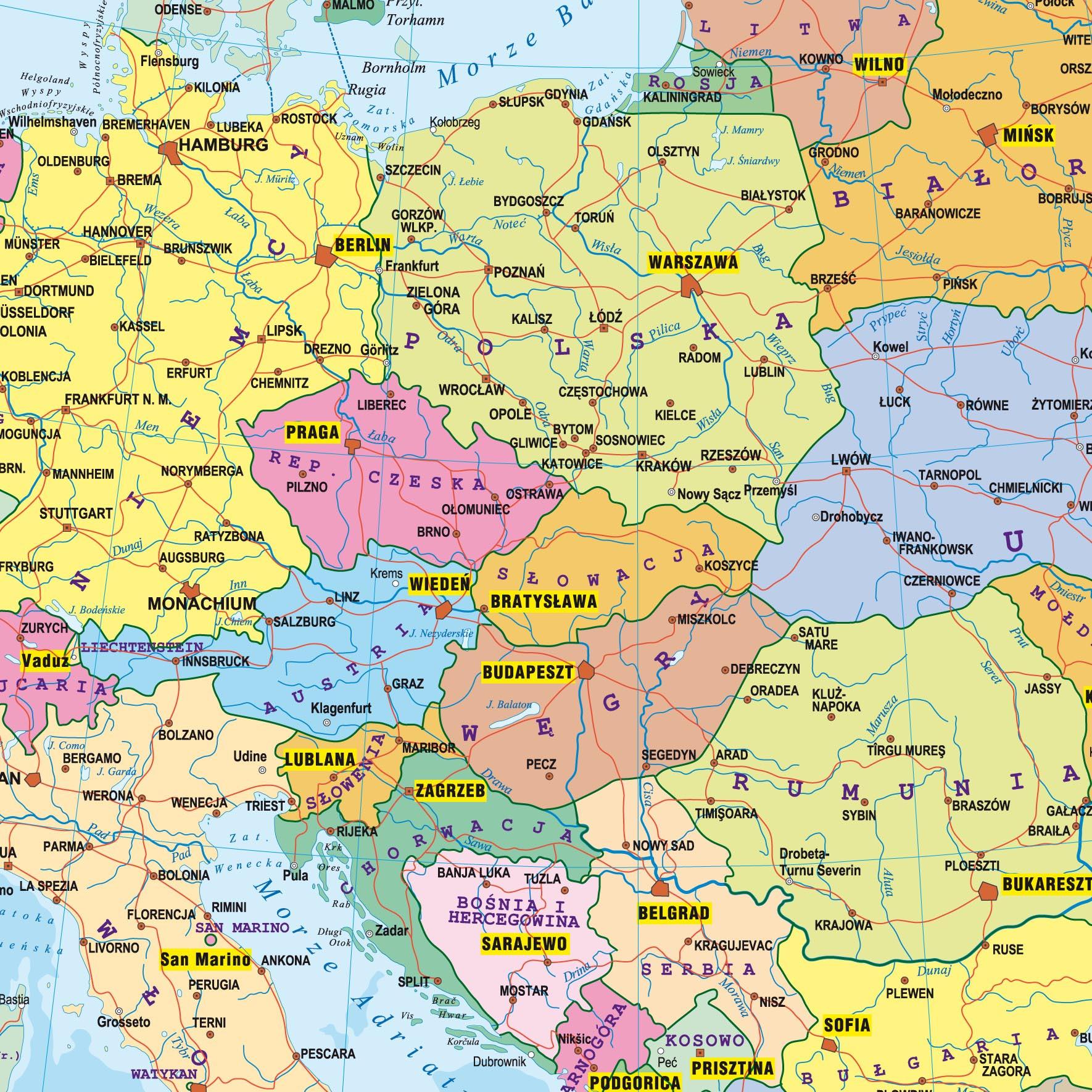 Europa Mapa Fizyczno Polityczna Podreczna Laminowana Mapa
