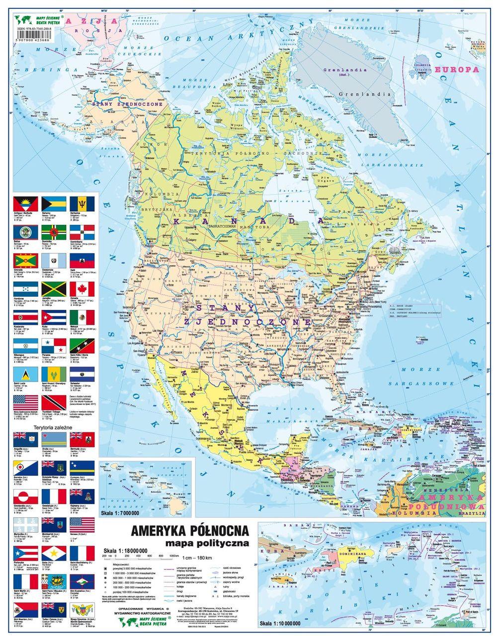 Ameryka Pn Mapa Fizyczno Polityczna Podreczna Laminowana Mapa