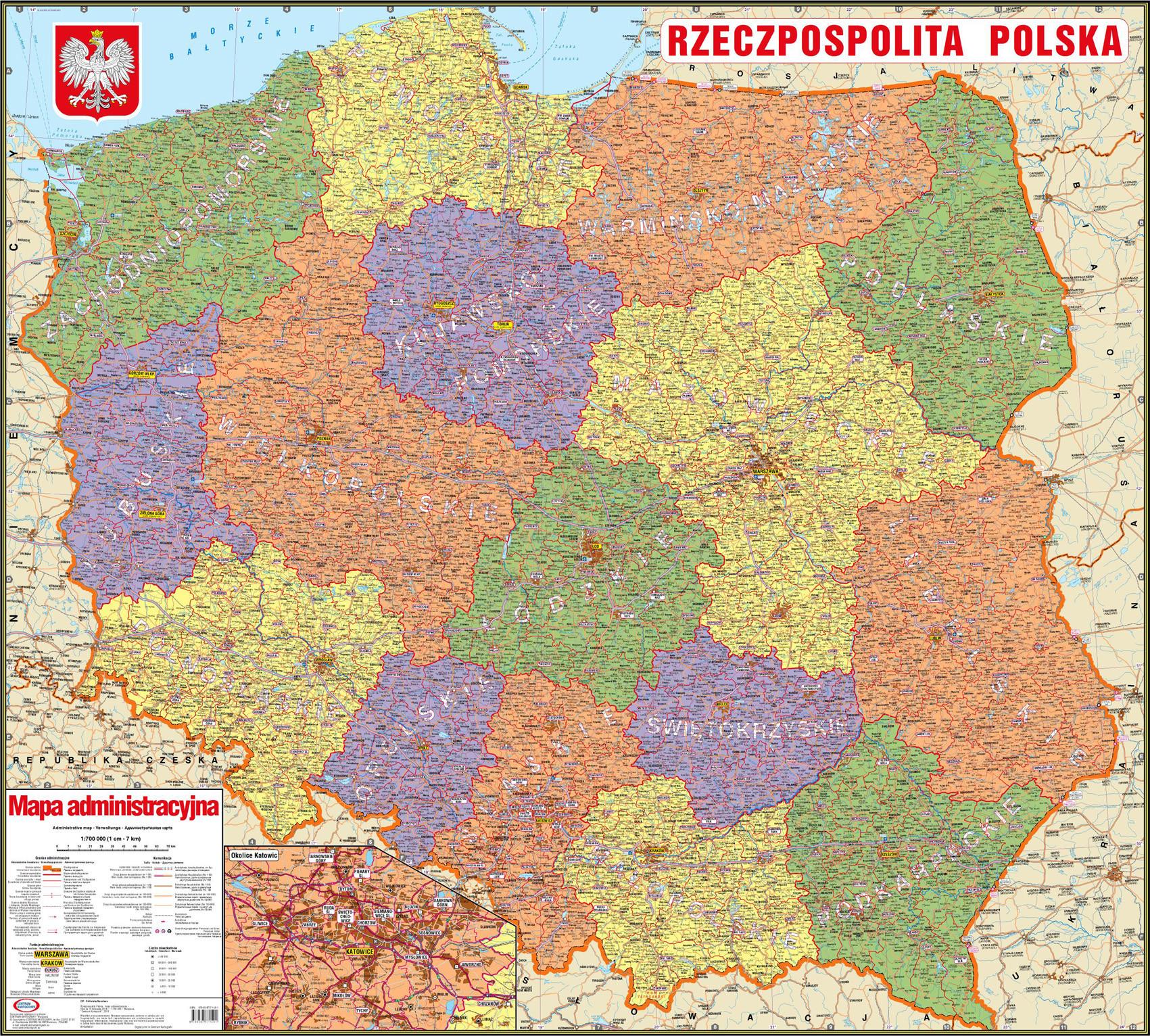 Rzeczpospolita Polska Mapa Administracyjna Centrum Kartografii
