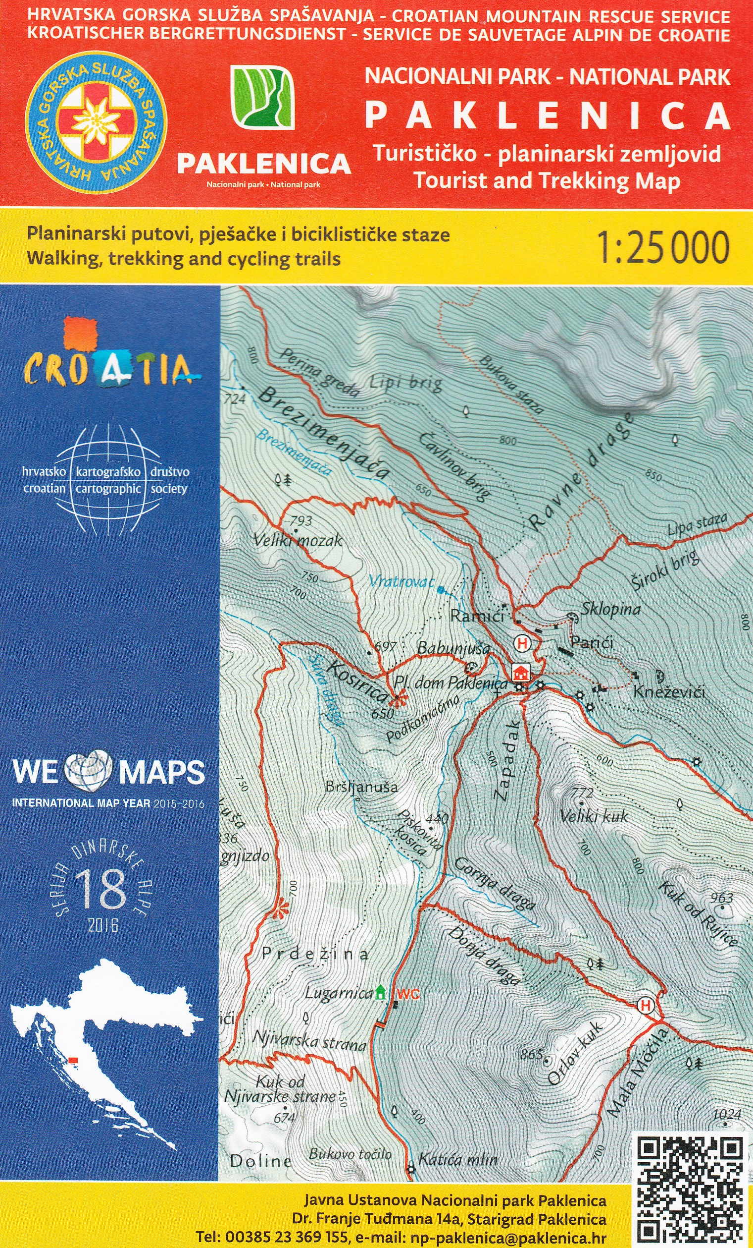 Paklenica Tourist And Trekking Map Mapa Skladana Hgss