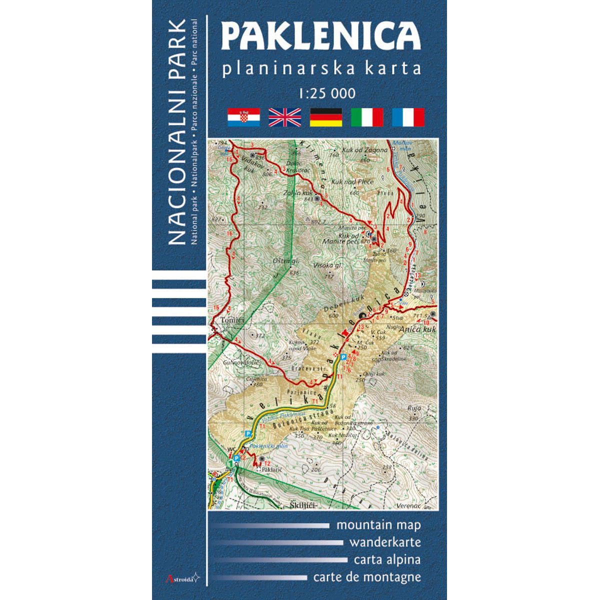 Paklenica Nacionalni Park Planinarska Karta Mapa Skladana Astroida