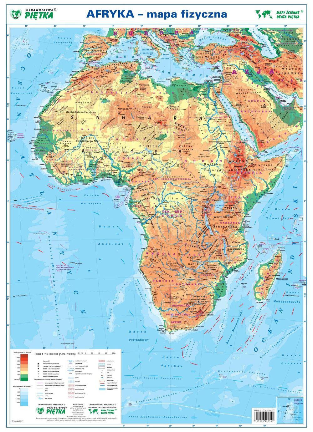 Afryka Mapa Fizyczno Polityczna Podreczna Laminowana Mapa