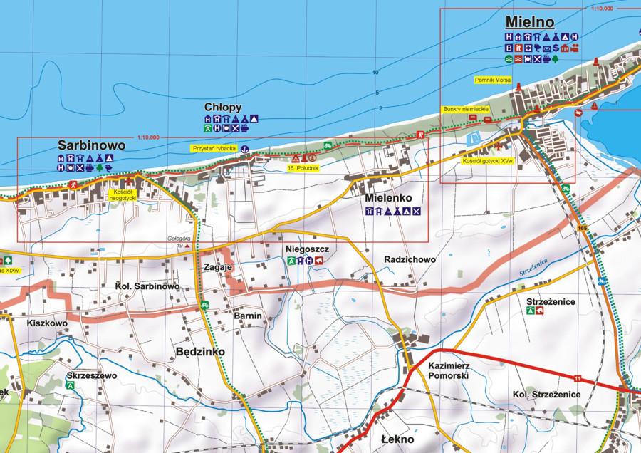 Mielno I Okolice Mapa Turystyczna Mapa Skladana Eko Map