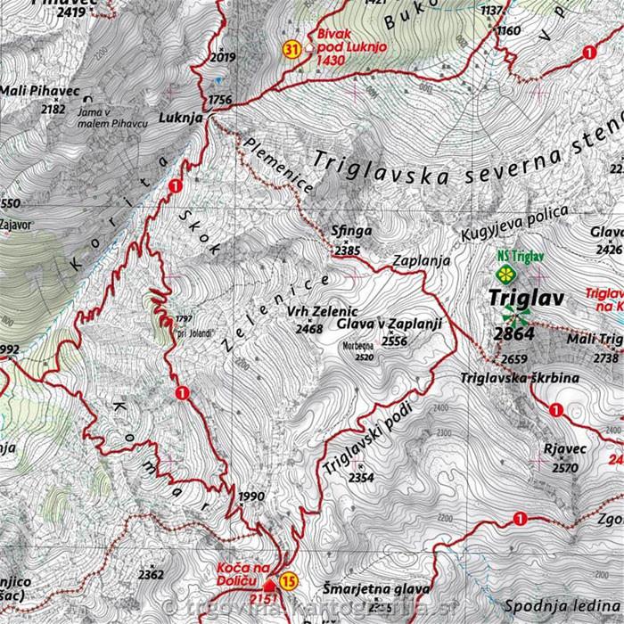 Triglav Mount Triglav Mapa Skladana Kartografija