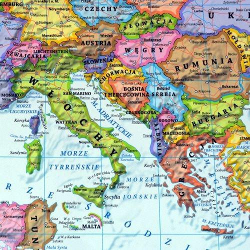 Europa Mapa Polityczna Fizyczna Dwustronna 100x70 Cm Eko Graf