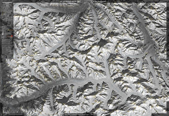 K2 and Baltoro Glacier in the Karakorum (rulon) 99x68cm