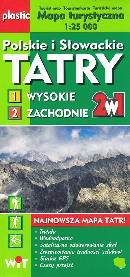 Tatry polskie i słowackie Wysokie i Zachodnie mapa foliowana