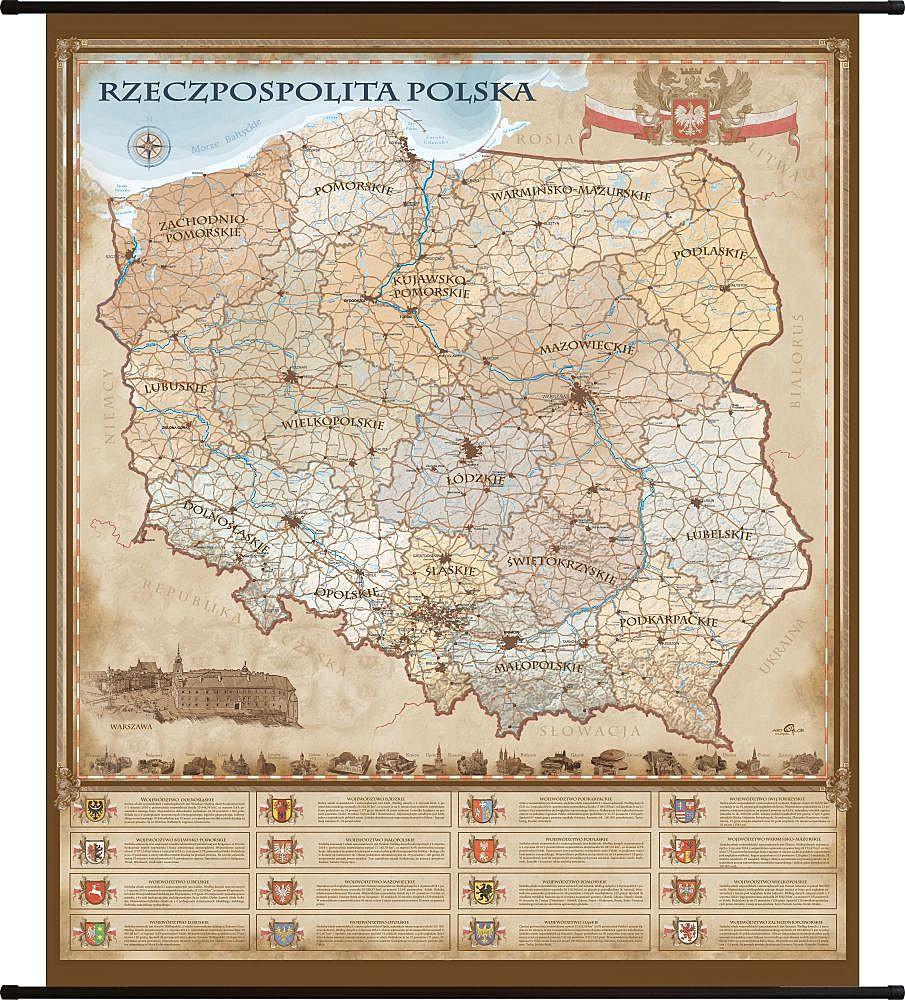 Rzeczpospolita Polska Mapa Scienna Stylizowana 100x120cm Artglob