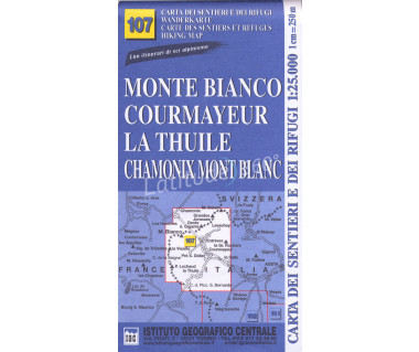 IGC 107 Monte Bianco, Courmayeur, La Thuile - Mapa turystyczna