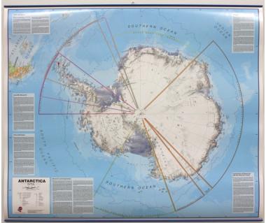 Antarctica Map 120x100cm (mapa laminowana z listwą w tubie)