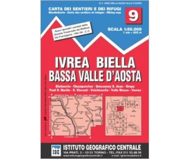 IGC50 09 Ivrea Biella Bassa Valle d'Aosta - Mapa turystyczna