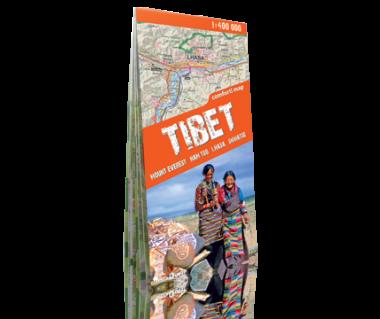 Tibet, Mount Everest, Nam tso, Lhasa, Shigatse - Mapa turystyczna laminowana