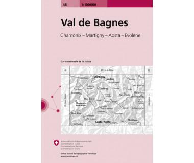Val de Bagnes - Mapa turystyczna