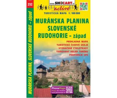 Muranska Planina, Slovenske Rudohore - zapad - Mapa