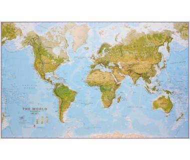 World Map 120x195cm (mapa fizyczna laminowana w tubie)
