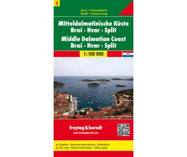 Middle Dalmatian Coast (3) Brać, Hvar, Split - Mapa