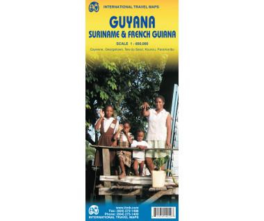 Guyana, Suriname & French Guiana - Mapa
