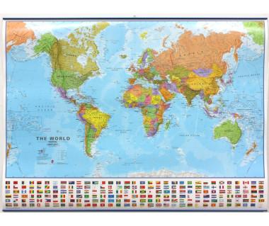 World Map 100x136cm (mapa polit. lamin. z listwami w tubie)