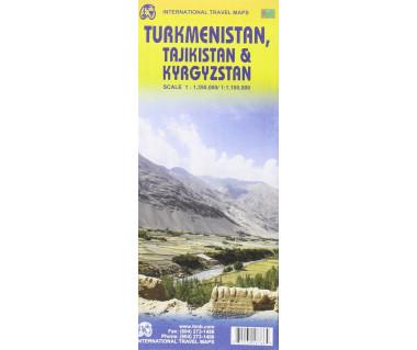 Turkmenistan, Tajikistan & Kyrgyzstan - Mapa