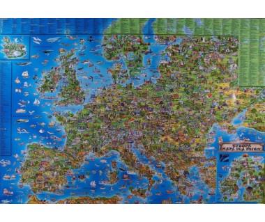 Europa mapa laminowana dla dzieci 137x97 cm - listwa