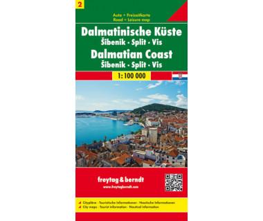 Dalmatian Coast (2) Sibenik, Split, Vis - Mapa