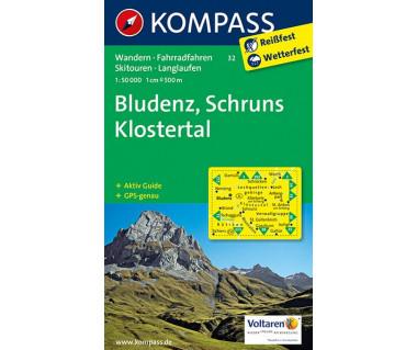 Bludenz, Schruns Klosteral (folia) - Mapa turystyczna