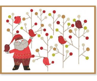 Kartka świąteczna Santa with Birds