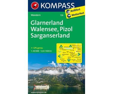 Glarnerland, Walensee, Pizol - Mapa laminowana