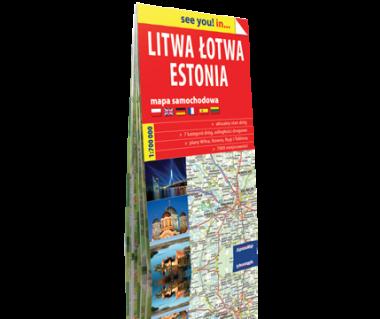 Litwa, Łotwa, Estonia mapa samochodowa