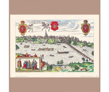 Warszawa reprint panoramy, G. Braun i F. Hogenberg, 1618