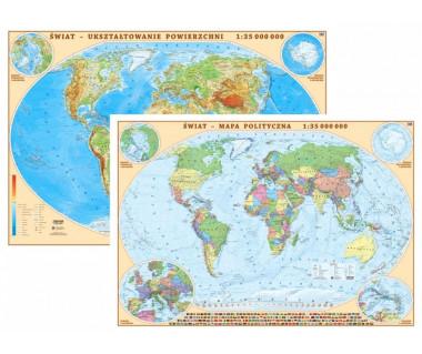 Świat mapa polityczna/fizyczna 100x70 cm