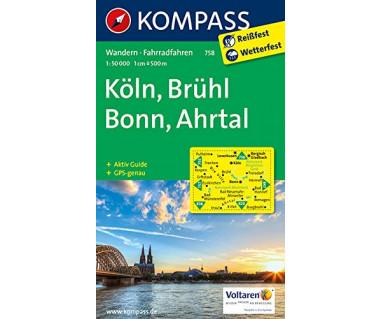 Koln, Bruhl, Bonn, Ahrtal - Mapa laminowana