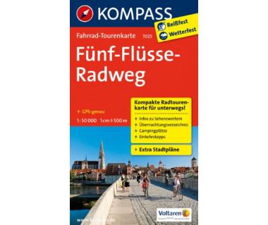 Funf-Flusse-Radweg - Mapa rowerowa laminowana