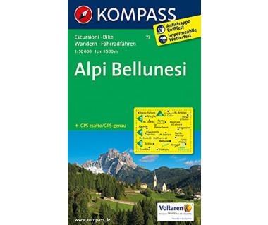 Alpi Bellunesi - Mapa turystyczna laminowana