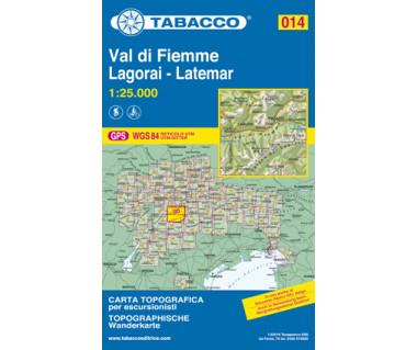 Val di Fiemme, Lagorai, Latemar - Mapa turystyczna