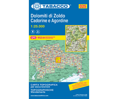 Dolomiti di Zoldo, Cadorine e Agordine - Mapa turystyczna