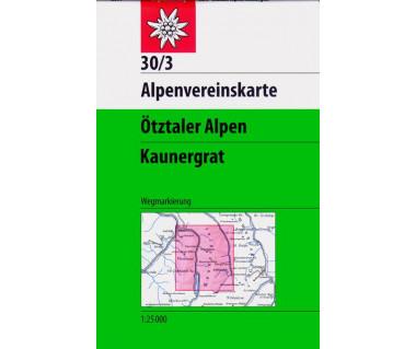 Otztaler Alpen Kaunergrat - Mapa turystyczna