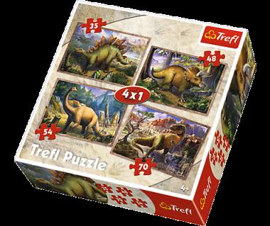 Puzzle 4w1 Dinozaury