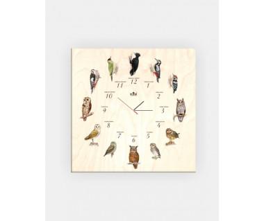 Zegar drewniany z ptakami (dzięcioł czarny...)