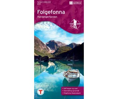 Folgefonna-Hardangerfjorden - Mapa turystyczna
