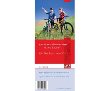 100 de excursii cu bicicleta in zona Clujului/100 Bike Trips around Cluj - Mapa rowerowa