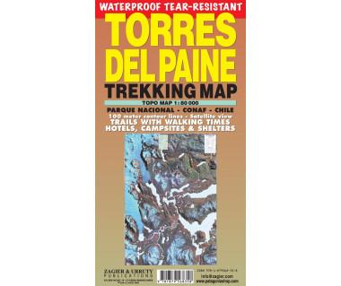 Torres del Paine trekking map