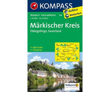 Markischer Kreis, Ebbegebirge, Sauerland - Mapa laminowana
