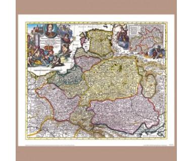 Polska, Litwa, Prusy i Pomorze reprint, P. Schenk 1711 r.