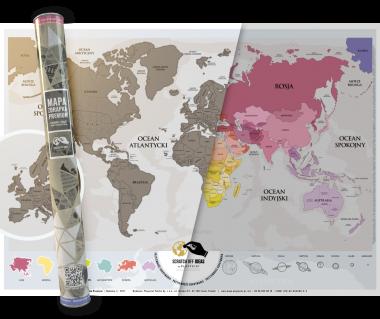 Świat mapa zdrapka premium