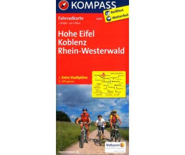 Hohe Eifel, Koblenz, Rhein-Westererwald - Mapa rowerowa laminowana
