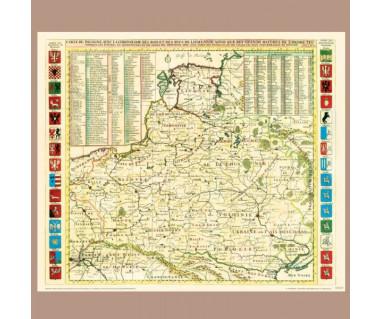 Polska z herbami województw reprint, H. A. Chatelain, 1714 r.
