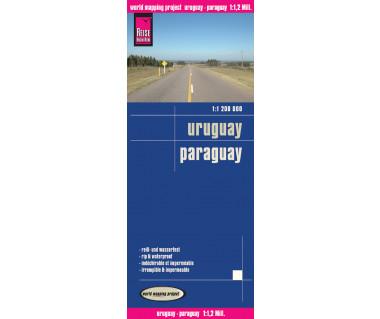 Uruguay, Paraguay - Mapa wodoodporna