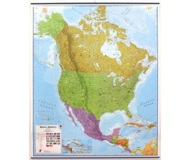 North America Map 100x120cm (mapa polit. z listwami w tubie)