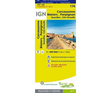 IGN100 174 Carcassonne Beziers. Perpignan